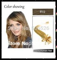 """Hair Extensions 22"""" Keratin U tip/ Nail tip hair extension Brazilian virgin hair #12 Light Golden Brown 70gram/LOT"""