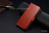 Vintage Luxury Busines genuine leather case for iphone 5 5S,100% Real cowhide Oil wax lines thin Flip case,Free Screen Protector