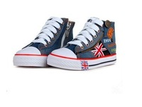 2013 Autumn New High Heel Canvas Flats Shoes For Children/Denim Style Sneakers Of Girls And Boys With High Quality