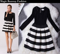 Autumn Winter Women's European High Fashion Slim Elegant Classic Black White Stiped Long Sleeve Bub One-piece Dress Plus size XL