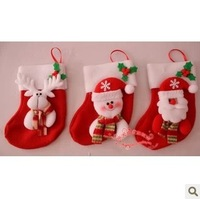 Free shipping 10pcs Christmas stocking sock christmas gift Christam decoration