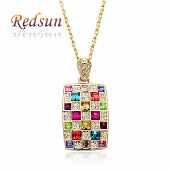 Italina Polychrome Square Delicate Sparkling Pendant Necklaces Female Jewelry Birthday Gift For Girl/Women/Lady