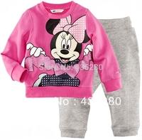 Retail Hot Sale New 2014 Autumn Winter Baby Pink Christmas Pajamas Long T Shirts+Gray Pants Suits Baby Sleepwear Clothing Sets