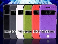 2013 New Hot Selling leather phone case for iPhone5 with two open windows with 3 free gifts