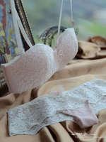 [ 32-38 A B C Cup ] New Fashion Women's White Lace Princess pink beautiful half cup Wire Free underwear bra set Free Shipping