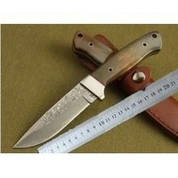 Free shipping 100% true Damascus Bull Buffalo Horn Handle Hunting Knife DKH18