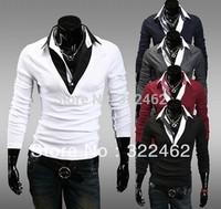 Mens Fake 2pcs Shirt Neck Knitwear Cardigan Design Slim Casual Sweater Coat Factory Wholesale 5 Color Plus Size M-2XL SM-0003