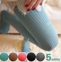 Free Shipping 5 Colors Women Vertical Stripe Pantynose Velvet Leggings Silk Stocking