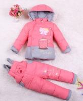2014 New Winter children girl down jacket parkas suit set coat+pants female child girls clothes sets for kids GC075