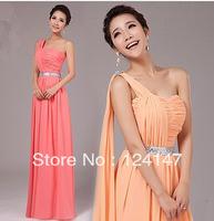 AQ Fashion Christmas new dress orange color long design one shoulder formal dress