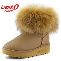 Winter fox fur boots women's low platform slip-resistant low thermal waterproof snow boots women pumps