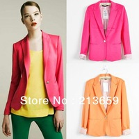 Gift !Women candy color suit blazers elegance colorful one button style FOLDABLE SLEEVES COAT cotton fabric free shipping