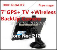 7 inch gps navigation tv Bluetooth AV-In 800X480  4GB 2013 maps+Analog TV+Wireless rearview camera