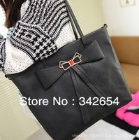 Free shipping women bow bag mail bag black leather handbag shoulder slope across a bag of candy