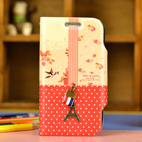 fashionable happy mori Carton Style Leather phone case for Samsung Galaxy S3 mini I8190, buy one get two (1pcs case+1pcs film)