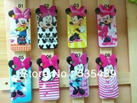 HOT ! 8 style 1 pcs Mickey Minnie Mouse Soft TPU silicone Case for iphone 4 4S elegant luxury High quality + Screen Protector