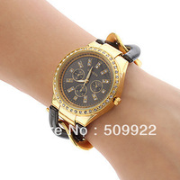 Promotion Price GENEVA Metal Wristwatches Girlfreind Designer Chronograph Style Ladies Watches Four colors Can Choose