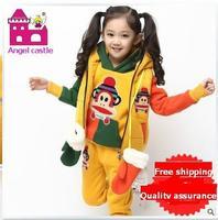 Free Shipping Children'S Clothing Autumn Family Fashion Female Child Autumn 2014 Winter Sports Casual child set piece set