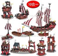 953 PCS J5694 10in1 Pirate Ship/Sailing Boat Enlighten Building Block Set 3D Construction Brick Toys Without original box