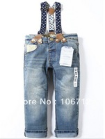 1PCS High quality children's brand jeans fashion baby boys girls long denim trousers with strap pants free shipping