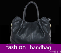 new fashion 2013 women's part genuine leather shoulder bag  zipper totes bag brand designer high quality solid freeship
