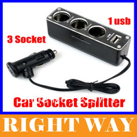 1 to 3 Car Cigarette Lighter Socket Splitter with USB Charger Supply and Triple socket Free Shipping