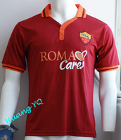 2013 2014 as roma red soccer shirts Top Thai Quality  football jerseys roma Home Free Shipping