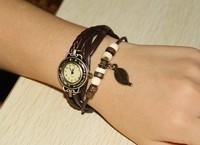 Selling Korean fashion women's bracelet watch 6 color choices Girl decorative bracelet watch Foliage retro woven bracelet watch