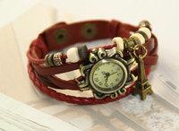 20pcs/lot Free shipping Hot selling Fashion creative gifts Hand-woven leather bracelet watch Girl decorative fashion watch