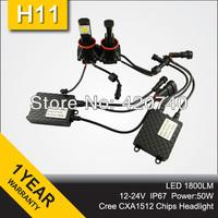 Promotion 50w H11 Car Fog LED Big Headlight CREE CXA1512 Chips 50W H11 LED Headlamp 1800LM H11 LED Headlight Super Bright