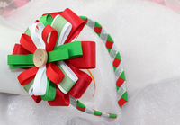 Min Order $9.9, 2013 Beautyful Christmas Ribbon Flower Hair Band For Girls, Free Shipping