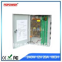 18CH 240w 20a AC to DC power supply for CCTV, CE/Rohs/FCC/IEC