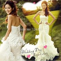 AQ Fashion 2014 fish tail wedding dress 12 fishbone body shaping white lace up with crystal wedding dess