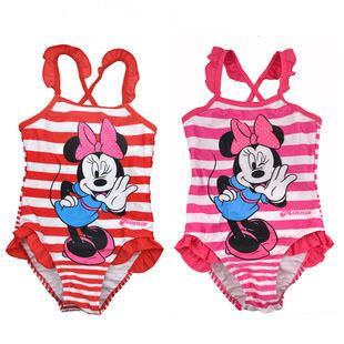 32252 Wholesale 2015 New Fashion Summer cartoon minnie mouse Striped girl's Children Bikini swimsuit Swim wear for Kids Bathing