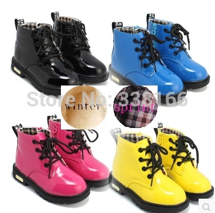 Free shipping,Children shoes bright japanned leather female child martin boots,male child leather fashion boots,child sneakers()