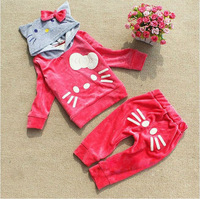 New arrival velvet girls suit Top+pant hello kitty kids clothes 2color pink&rose children clothing set for autumn retail