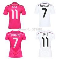 14 15 Real Madrid Jersey Top Thai Quality  football jerseys 7# RONALDO 11# BALE 4# SERGIO RAMOS Custom Whole Sell Drop Shipping