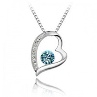 Fashion 18K white gold plated austrian crystal unique necklaces for women bridal heart Pendants necklace