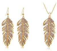 Wholesale Christmas holiday sale 18k Gold Plated Feather Design rhinestone austrian crystal Jewelry Sets