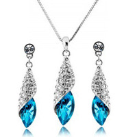 Wholesale Fashion 18K white gold plated austrian crystal ight of the desert women wedding necklace/earrings Jewelry sets