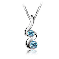 Fashion 18K white gold plated austrian crystal bud women Pendants necklace