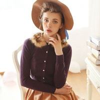 Free Shipping New 2015  Women Sweaters Cardigans Purple/Beige With Detachable Fur Collar Beading Single-Breasted W6316