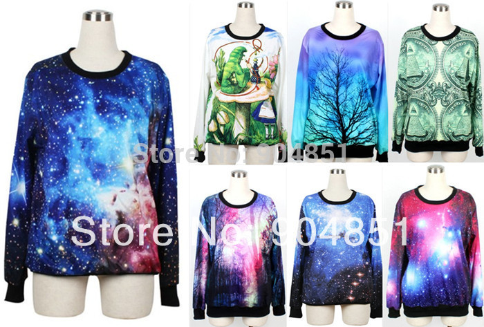 HOT 2013 Women Pullover Shining Galaxy Universe Blue Custom Hoodie Digital Print Loose Supernova Sale Wholsale S117-199~219(China (Mainland))