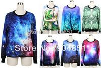 HOT 2013 Women Pullover Shining Galaxy Universe Blue Custom Hoodie Digital Print Loose Supernova Sale Wholsale