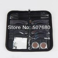 Hot!!!Professional Makeup ~Permanent Makeup Eyebrow Stencil Kits 8 Design  1 Pen & Leather Frame Hot