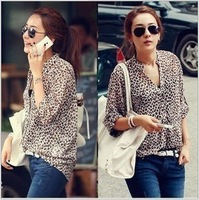 European Style 2013 Summer Women Chiffon Basic leopard print Cardigan High street Camisa  shirt blouse tops blusas 3/4 sleeve