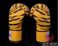 WOLON senior PU leather sanda / kickboxing / boxing gloves with yellow or white tiger patterns / 10oz(71~91Kg) Free shipping