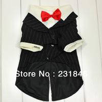 1 pcs Prince Tuxedo Black White T-shirt Wedding Formal Dog Cat Pet Clothes Jumpsuit Red BowTie Costume 5 Size XS S M L SL