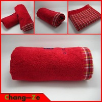 High quality, super soft 100% cotton towel, jacquard towel red, plaid towels, fast absorbing, suitable for adults and children