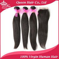"Queen Hair 100% Brazilian vigin hair straight unprocessed hair,bleached knots Lace Closure with Hair Bundles,4pcs/lot, 12""-30"""
